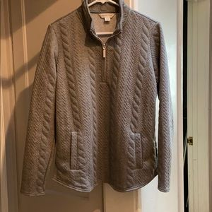 Cold water creek gray quilted sweatshirt size M